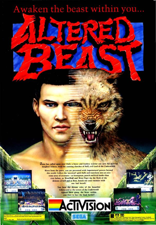 Poster advert for Altered Beast computer game