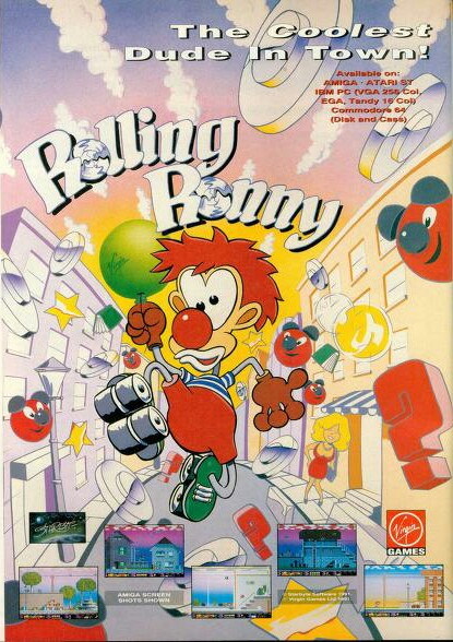 Retro Amiga game Rolling Ronny advert