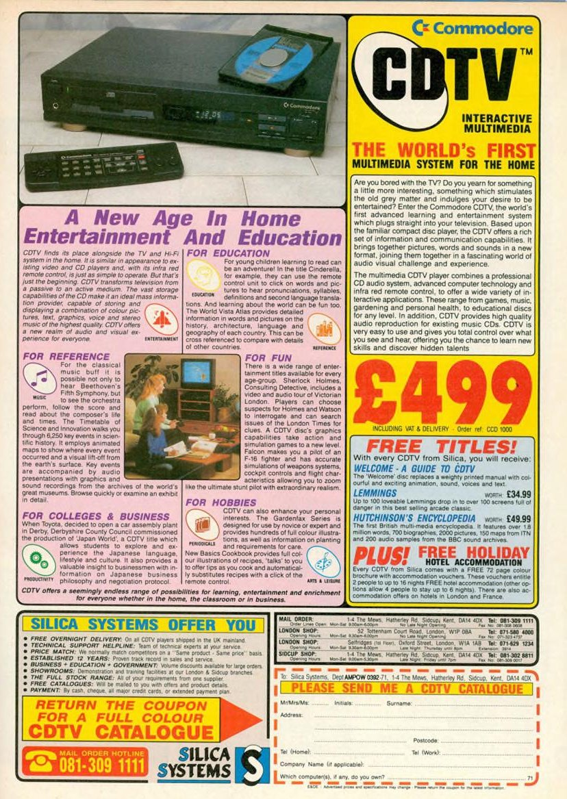 Vintage advert for the Commodore CDTV system