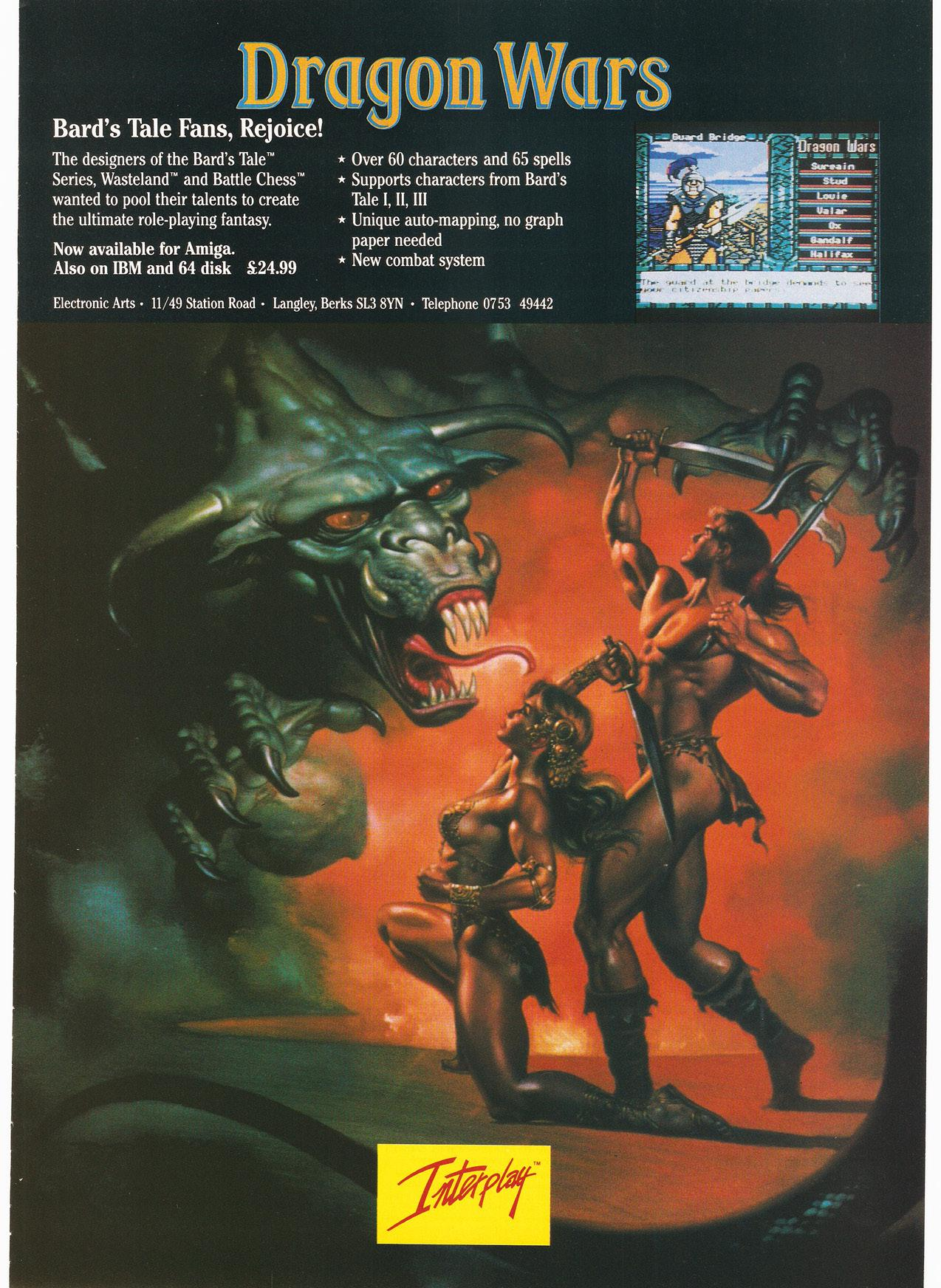 Dragon Wars Amiga game vintage poster
