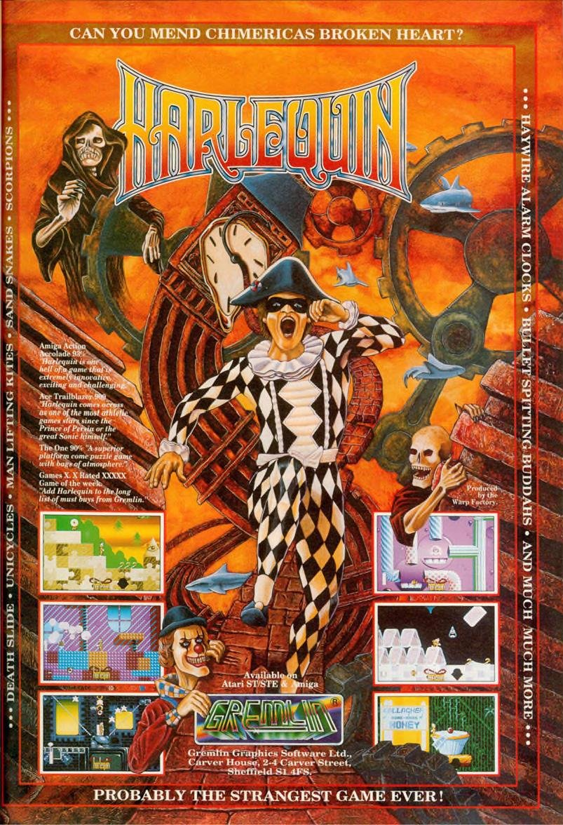 Advertising poster for the 1992 Harelquin computer game
