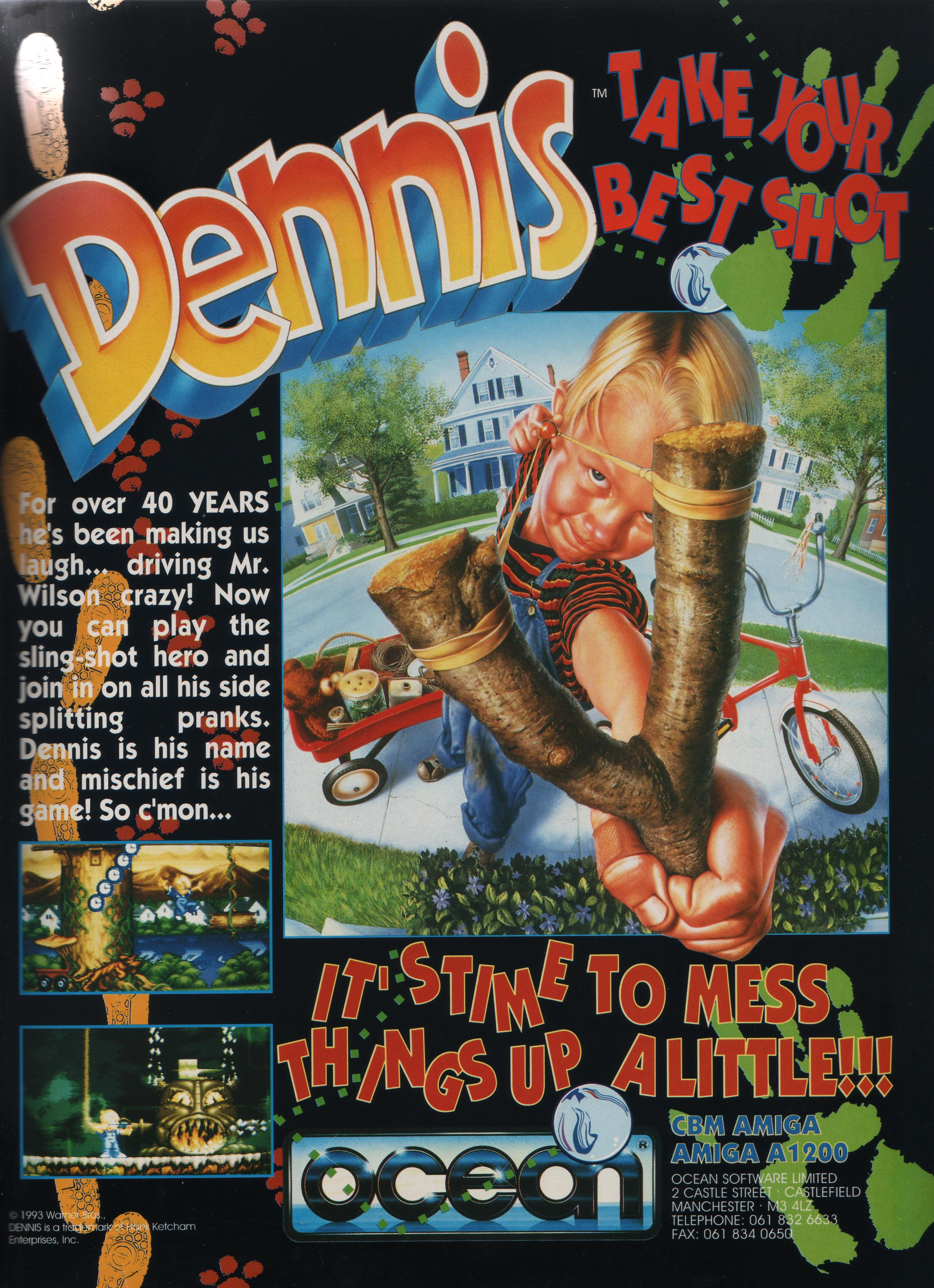 The 1994 Ocean software game Dennis for the Amiga A1200 advert